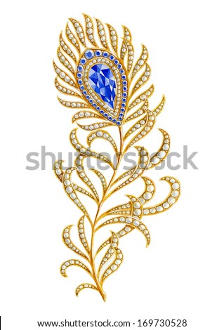 Jewelry gold feather. Watercolor illustration - stock photo