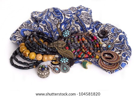 jewelry in ethnic style on white background