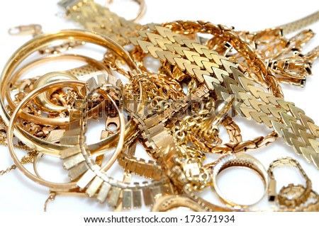 Jewelry isolated on white background. - stock photo