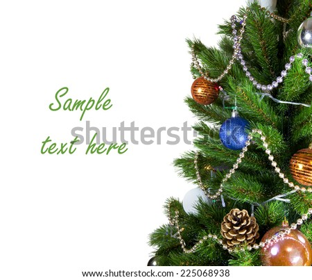 jewelry on a green New Year tree on white background with path - stock photo