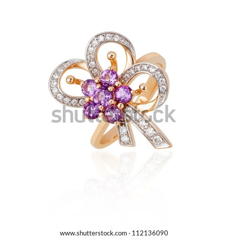 Jewelry ring isolated on the white background - stock photo