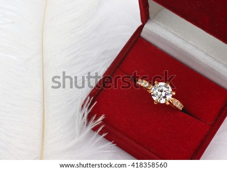 Jewelry wedding ring with diamond in gift box  - stock photo