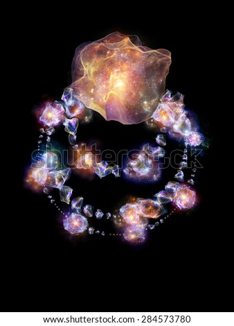 Jewels for Martian Girl series. Composition of colorful organic forms and lights with metaphorical relationship to jewelry, beauty, art, science, magic and imagination - stock photo