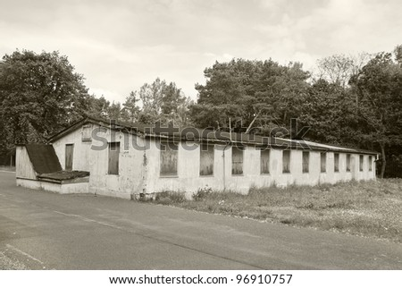 Jewish barracks in Sachsenhausen-Oranienburg was a Nazi concentration camp in Berlin, Germany,  the camp was established in 1936. It was located 35 km north of Berlin - stock photo