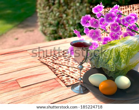 Jewish celebrate pesach passover with eggs, matzo and flowers on nature background - stock photo