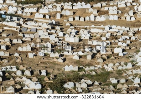 jewish cemetery in fes - stock photo