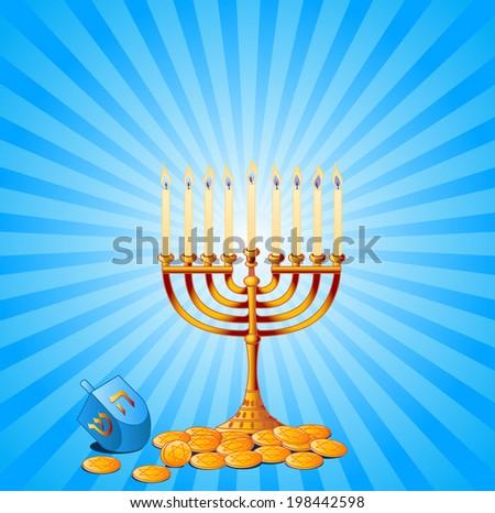 Jewish festival of Hanukkah/Chanukah Background, including Menorah, dreidls/sevivot and Hanukkah Gelt. Raster version.   - stock photo