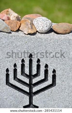 Jewish Headstone - stock photo