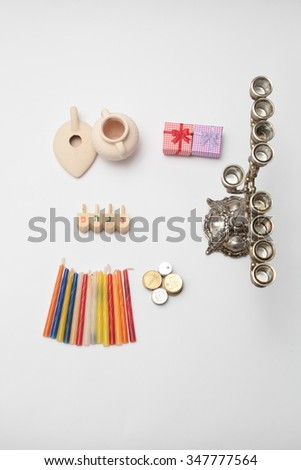 Jewish holiday Hanukkah celebration.  Set of organized objects on white background.. View from above - stock photo