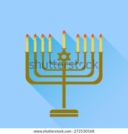 Jewish Holiday Hanukkah. Menorah Burning Candles Isolated on Blue Background. - stock photo