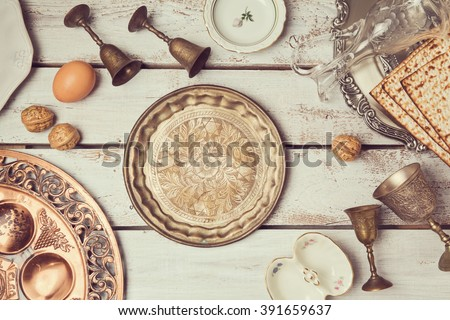 Jewish holiday Passover background with vintage plate. View from above. Flat lay