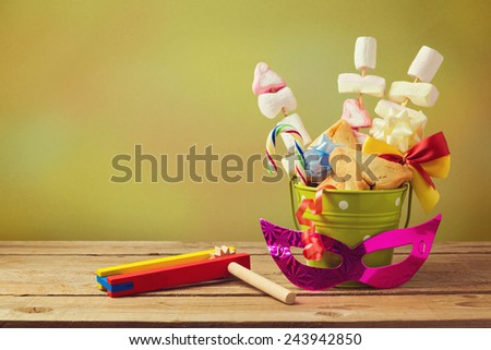 Jewish holiday purim gift with hamantaschen cookies in bucket - stock photo