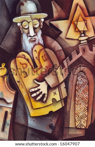 Jewish man reading Thorah. Illustration by Eugene Ivanov. - stock photo