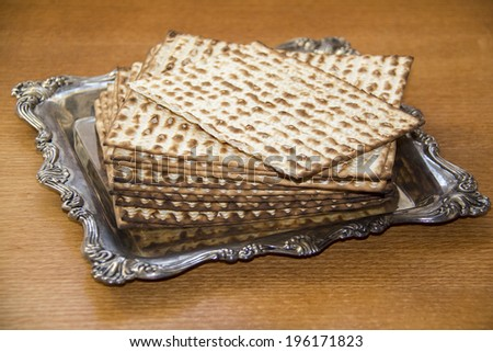 Jewish Matzoh on Decorated Silver Plate