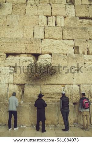 Jewish Men Praying Sacred Wailing Wall Stock Photo 561084073 ...