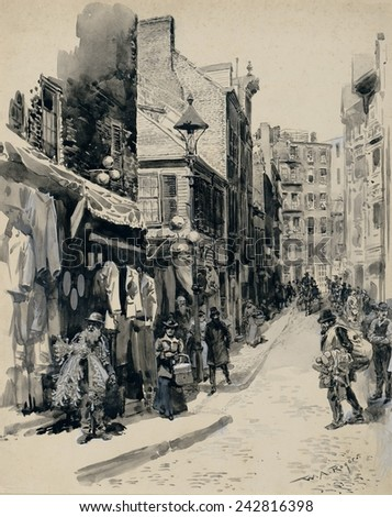 Jewish neighborhood in Boston Street. Scene of peddlers, women carrying baskets, and men walking on the sidewalks of a narrow street. Ca. 1899 by William Allen Rogers.