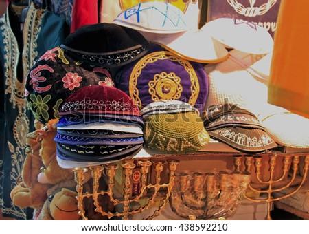 Jewish skullcap hat, on sale at the market - stock photo