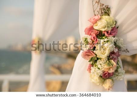 Jewish wedding chuppah in Israel - stock photo
