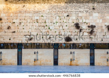 Jews Praying at the Western Wall. Travel to Jerusalem. Israel. - stock photo