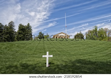 JFK Memorial at Arlington Cemetery Washington DC - stock photo