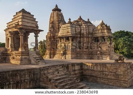 Jian and Hindu Temples at Khajuraho in the Madhya Pradesh region of India. A UNESCO World Heritage Site. - stock photo