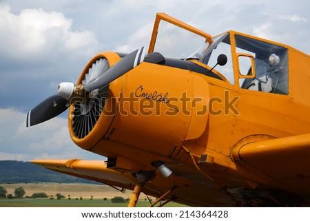JICIN, CZECH REPUBLIC - AUGUST 15: Zlin Z-37 Cmelak - czech agricultural aircraft used mainly as crop duster on August 15, 2014 in Jicin, Czech Republic.  - stock photo