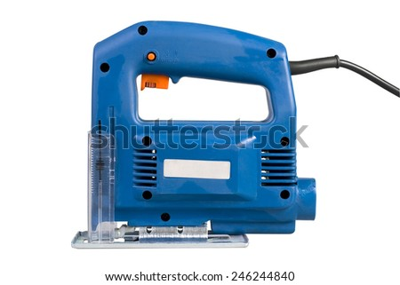 Jig saw shot isolated over white background with clipping path - stock photo