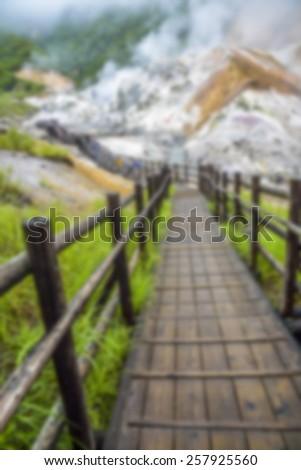 Jigokudani hell mountain in Noboribetsu Japan in Blur style - stock photo