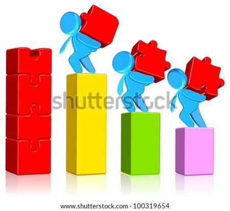 Jigsaw Chart - stock photo