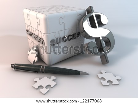 jigsaw cube on a white background. - stock photo