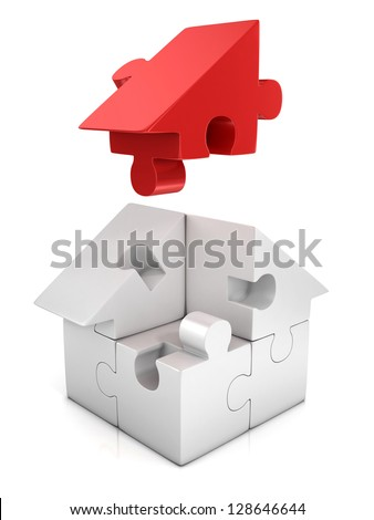 jigsaw house 3d illustration