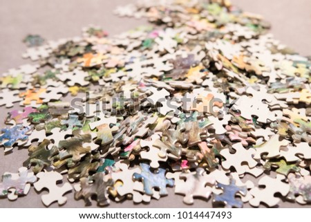 jigsaw pieces close up