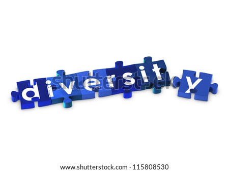 Jigsaw pieces spelling out DIVERSITY - stock photo