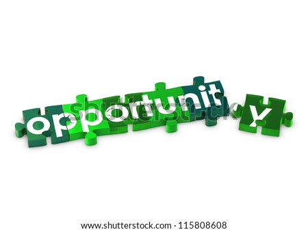 Jigsaw pieces spelling out OPPORTUNITY - stock photo