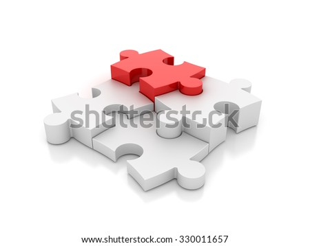 Jigsaw Pieces with one Red - Success and Individuality Concept -  High Quality 3D Render