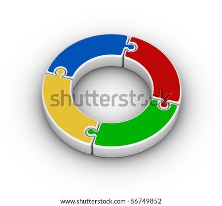 Jigsaw Puzzle Circle - stock photo