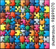 Jigsaw Puzzle Colorful Pattern. Rasterized Version - stock photo