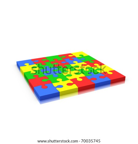 Jigsaw puzzle complete isolated on white (red yellow green and blue) - stock photo