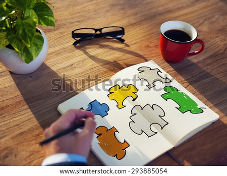 Jigsaw Puzzle Connection Corporate Team Teamwork Concept - stock photo