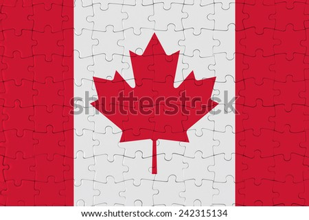 Jigsaw Puzzle Flag of Canada - stock photo