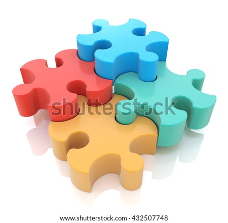 Jigsaw Puzzle in the design of the information associated with abstraction. 3d illustration - stock photo