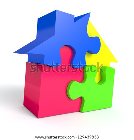 Jigsaw puzzle in the shape of a house on white background. Computer generated image with clipping path - stock photo