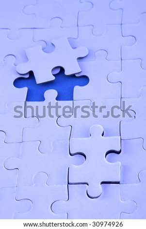 Jigsaw puzzle-Management skill - stock photo