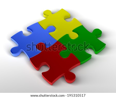 Jigsaw Puzzle Multicolored pieces joined together