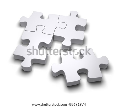 Jigsaw puzzle on a white background. 3d image - stock photo