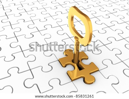 Jigsaw Puzzle Piece With Key In Keyhole This Is A 3d Render Illustration
