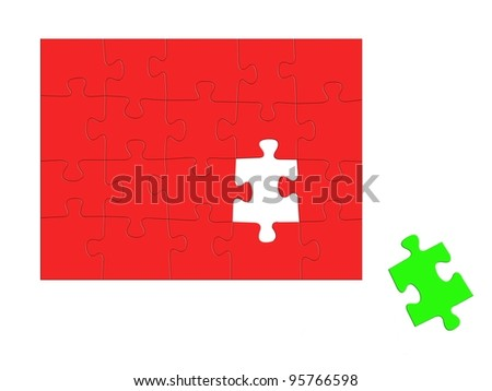 Jigsaw puzzle pieces isolated against a white background - stock photo