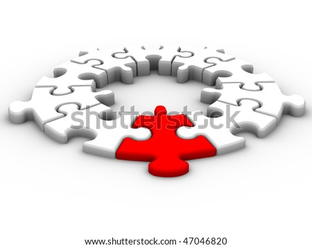 Jigsaw puzzle pieces over white - 3d render