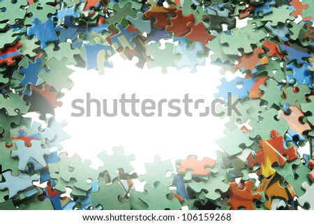 Jigsaw Puzzle Pieces with Copy Space - stock photo