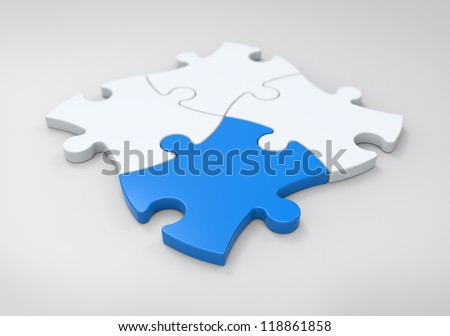 Jigsaw Puzzle Solution - stock photo
